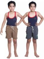 Red Ring Short For Boys Self Design Cotton Linen Blend, Nylon Blend(Brown, Pack of 2)