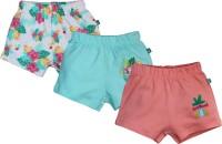 FS Mini Klub Short For Girls Printed Cotton Linen Blend, Nylon Blend(Green, Pack of 3)