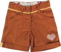 Yazhi Short For Girls Cotton Linen Blend, Cotton Nylon Blend, Cotton Linen Blend(Brown)