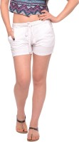 Vvoguish Self Design Womens White Basic Shorts