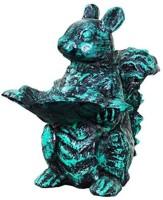 Karara Mujassme Cast Aluminium Squirrel Showpiece  -  30 cm(Aluminium, Green)