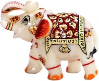 Pooja Creation Marble Elephent With Beautiful Desine And Colormade Hand Proper Size Decorative Showpiece  -  10 cm(Stoneware, White)