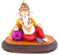 The Nodding Head Lounge Crown Ganesha with Pillow Decorative Showpiece  -  9 cm(Polyresin, Multicolor)