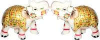 GAC Trend Meenakari Gold Plated Makrana Marble Elephant Pair Decorative Showpiece  -  10 cm(Stoneware, Multicolor)