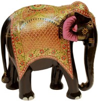 Craft International Elephant Gold Painted - 15 Inch Showpiece  -  38 cm(Wooden, Multicolor)
