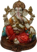 The Nodding Head Lord Ganesha Sitting Statue (Red) Decorative Showpiece  -  18 cm(Polyresin, Multicolor)