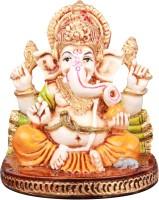 The Nodding Head Polyresin - Chaturbuja Ganesha Sitting on Base Decorative Showpiece  -  6.6 cm(Polyresin, Multicolor)