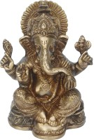 Aakrati Lord Ganesha Sculpture For Gift And Decor Decorative Showpiece  -  19 cm(Brass, Brown)