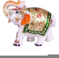 Anshul Fashion Marble Stone Handcrafted Elephant With Meenakari Decorative Showpiece  -  12 cm(Stoneware, Multicolor)