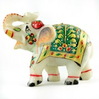 Pooja Creation Marble Elephent With Nice Beautiful Desine And Color Made To Here Decorative Showpiece  -  5 cm(Stoneware, White)