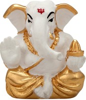 Siri Creations Airavatha Ganesha Decorative Showpiece  -  4.5 cm(Gold Plated, White)
