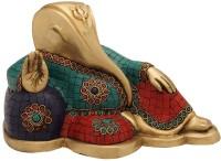 StatueStudio Modern Art Reclining Ganesha Stone Showpiece  -  15.24 cm(Brass, Multicolor)