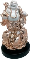 Art N Hub Laughing Buddha Gold Plated Statue with Wooden Base (size H-48 C.M.) Showpiece  -  48 cm(Polyresin, Wooden, Gold)