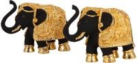 Siri Creations Elephants Idols Foil and Enamel Decorative Showpiece  -  7 cm(Gold Plated, Black, Gold)
