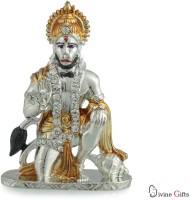 Divine Gifts & Artificial Jewellery Hanuman Aashirwad Silver Golden Stone Showpiece Decorative Showpiece  -  7.5 cm(Brass, Silver, Multicolor)