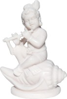 Handicrafts Paradise Sitting Krishna on shell Showpiece  -  10.79 cm(Polyresin, White)