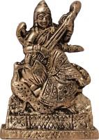 Art N Hub Goddess Maa Saraswati / Study Devi Idol - God Statue Pooja Item Decorative Showpiece  -  6 cm(Brass, Gold)