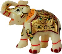 Artifa Marble Elephant Handicraft Decorative Showpiece  -  8 cm(Ceramic, White)