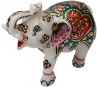 HD Techno Crafts Trunk Up Marble Elephant Enameled Colored 2 Inch Decorative Showpiece  -  6 cm(Stoneware, Multicolor)