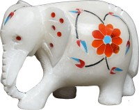 Pooja Creation Decrative Type Elephant Decorative Showpiece  -  6 cm(Stoneware, White)