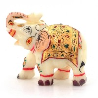 Pooja Creation Beautiful Elephant For DéCor Decorative Showpiece  -  7 cm(Stoneware, White)