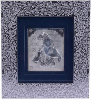 Siri Creations 999 Pure Krishna With Fancy Metal Frame And Stand Decorative Showpiece  -  17 cm(Silver, Silver)
