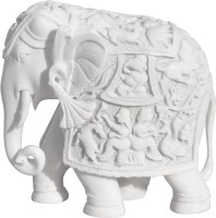 Handicrafts Paradise Ganesha carved elephant WM15032 Showpiece  -  13.97 cm(Polyresin, White)