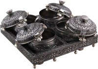 Halowishes Oxidize Mouth Freshener 4 Boxes Pair n Metal Tray Set Handicraft Brass Decorative Platter(Silver, Pack of 5)