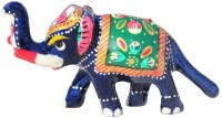 Handicrafts Paradise Rajasthani Metal Enamelled Trunk Up Elephant Showpiece  -  3.5 cm(Aluminium, Multicolor)