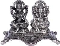 Lord Krishna Handicrafts Metal Ganesh Laxmi Diya Stand Decorative Showpiece  -  11 cm(Brass, White)