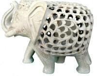 Pooja Creation Marble Indian Elephent Decorative Showpiece  -  6 cm(Stoneware, White)
