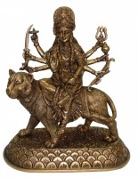 Radhika's World of Crafts Durga Showpiece  -  32 cm(Brass, Yellow)