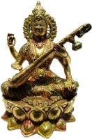 Brass Gift Center Saraswati Brass Multicolor Finish Showpiece  -  27 cm(Brass, Multicolor)