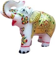 Pooja Creation Marble Indian Elephent Decorative Showpiece  -  5 cm(Stoneware, White)