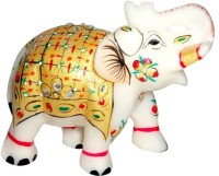 Pooja Creation Marble Elephent With Beautiful Desine And Color Handmde With Colours Decorative Showpiece  -  7 cm(Stoneware, White)