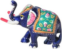 Handicrafts Paradise Metal Painted Trunk Up Elephant Emboss Work Showpiece  -  5 cm(Aluminium, Multicolor)