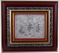 Siri Creations 999 Pure Lakshmi Ganesh Saraswathi With Wooden Frame Decorative Showpiece  -  19.5 cm(Silver, Silver)