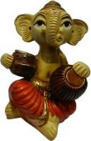 The Nodding Head Lord Ganesha Playing Tabla Statue Decorative Showpiece  -  12 cm(Polyresin, Multicolor)