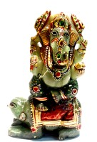 Sccottagecrafts Green Jade Ganesh 340 Showpiece  -  11 cm(Stoneware, Green)