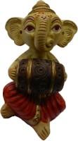 The Nodding Head Lord Ganesha Playing Dhol Statue Decorative Showpiece  -  12 cm(Polyresin, Multicolor)