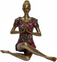 Radhika's World of Crafts Yoga Lady - Namaste Mudra (Multicolor Stonework) Showpiece  -  22 cm(Brass, Multicolor)