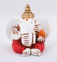 The Nodding Head Kan Ganesha with Modak (Red) Decorative Showpiece  -  8.5 cm(Polyresin, Multicolor)