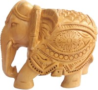 Craft International Elephant Carved - 3 Inch Decorative Showpiece  -  8 cm(Wooden, Brown)