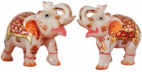 Pooja Creation Marble Pair Elephant With Beautiful Design And Color In Piece Of Jodi Decorative Showpiece  -  6 cm(Stoneware, White)