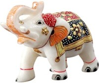 Pooja Creation Marble Elephent With Beautiful Desine And Color Handmde With Colours Decorative Showpiece  -  6 cm(Stoneware, White)