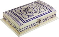 Halowishes Designer Rectangular Shape Golden Meenakari Dryfruit Box Handicraft Wooden Decorative Platter(Gold, Purple)