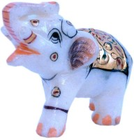 Pooja Creation Elephent With Beautiful Desine And Color Proper Decorative Showpiece  -  10 cm(Stoneware, White)