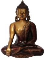 StatueStudio Sitting Kundal Buddha 13 inch- Copper Red Polish Showpiece  -  33 cm(Brass, Red)
