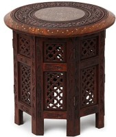 Simran Handicrafts ROUND055 Solid Wood Side Table(Finish Color - BROWN)