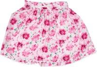 Elle Kids Printed Girls Gathered White, Green, Pink Skirt